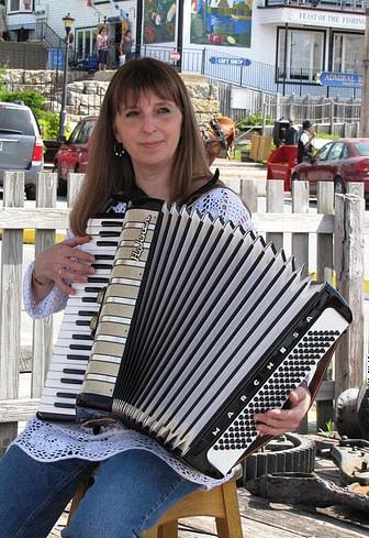 Donna Rhodenizer playing accordion - Lunenburg NS