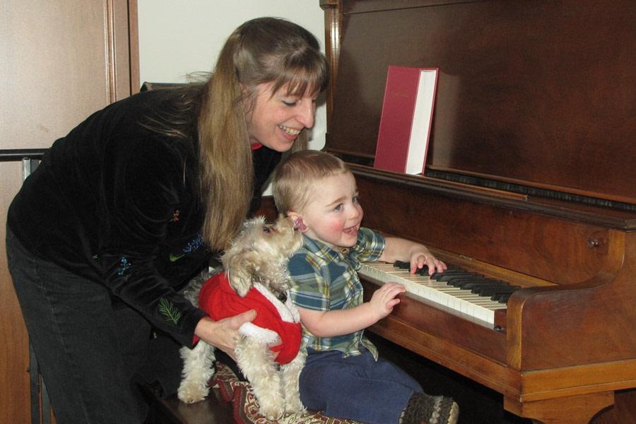 Dog and Boy at Piano