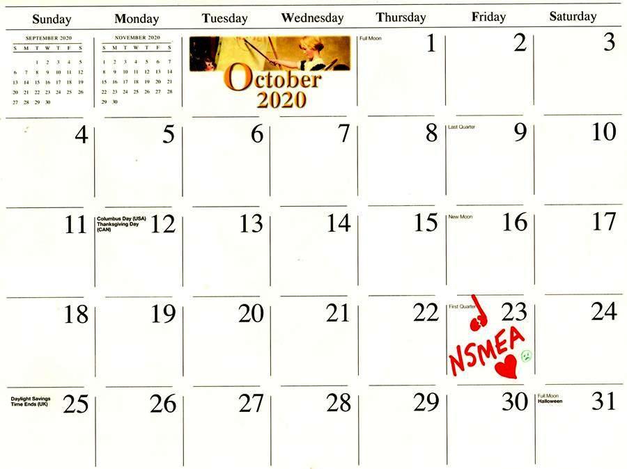NSMEA - Oct 23, 2020 - calendar