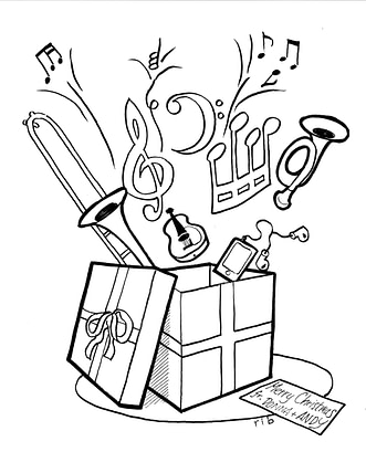 Christmas Gift - coloring page - from Donna & Andy