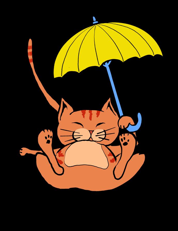 Cat - yellow umbrella