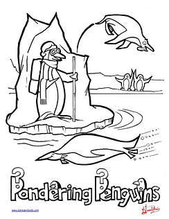 Pondering Penguins - Coloring Page