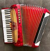 Donna Rhodenizer's red accordion