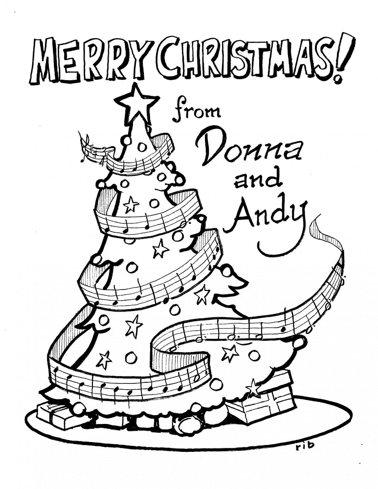 Christmas Tree - coloring page - from Donna & Andy